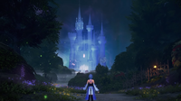 Aqua looking up at the Castle of Dreams in the Realm of Darkness.