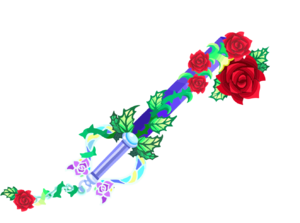 """The fourth upgrade of the Divine Rose<span style=""""font-weight: normal"""">&#32;(<span class=""""t_nihongo_kanji"""" style=""""white-space:nowrap"""" lang=""""ja"""" xml:lang=""""ja"""">ラヴィアンローズ</span><span class=""""t_nihongo_comma"""" style=""""display:none"""">,</span>&#32;<i>Ra Vi an Rōzu</i><span class=""""t_nihongo_help noprint""""><sup><span class=""""t_nihongo_icon"""" style=""""color: #00e; font: bold 80% sans-serif; text-decoration: none; padding: 0 .1em;"""">?</span></sup></span>)</span> Keyblade."""