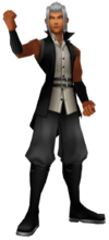 """3D Render of Master Xehanort dumped from the game. This gives us a frontal view. Though as I've not played BBS yet fully I can not say if he actually shows his frontal view in-game. For this reason and due to the whole """"Image of their backs, preserved in memory."""" I believe the one from a screenshot on Destiny Islands should stay along side this one."""