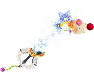 """The first upgrade Moogle of Glory<span style=""""font-weight: normal"""">&#32;(<span class=""""t_nihongo_kanji"""" style=""""white-space:nowrap"""" lang=""""ja"""" xml:lang=""""ja"""">モーグリオブグローリー</span><span class=""""t_nihongo_comma"""" style=""""display:none"""">,</span>&#32;<i>Mōguri obu gurōrī</i><span class=""""t_nihongo_help noprint""""><sup><span class=""""t_nihongo_icon"""" style=""""color: #00e; font: bold 80% sans-serif; text-decoration: none; padding: 0 .1em;"""">?</span></sup></span>)</span> Keyblade from the 2nd Anniversary event."""