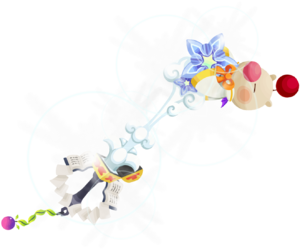 """The second upgrade Moogle of Glory<span style=""""font-weight: normal"""">&#32;(<span class=""""t_nihongo_kanji"""" style=""""white-space:nowrap"""" lang=""""ja"""" xml:lang=""""ja"""">モーグリオブグローリー</span><span class=""""t_nihongo_comma"""" style=""""display:none"""">,</span>&#32;<i>Mōguri obu gurōrī</i><span class=""""t_nihongo_help noprint""""><sup><span class=""""t_nihongo_icon"""" style=""""color: #00e; font: bold 80% sans-serif; text-decoration: none; padding: 0 .1em;"""">?</span></sup></span>)</span> Keyblade from the 2nd Anniversary event."""