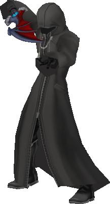 Riku hooded while wielding Soul Eater.