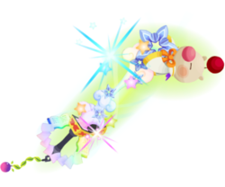 """The final upgrade of the Moogle of Glory<span style=""""font-weight: normal"""">&#32;(<span class=""""t_nihongo_kanji"""" style=""""white-space:nowrap"""" lang=""""ja"""" xml:lang=""""ja"""">モーグリオブグローリー</span><span class=""""t_nihongo_comma"""" style=""""display:none"""">,</span>&#32;<i>Mōguri obu gurōrī</i><span class=""""t_nihongo_help noprint""""><sup><span class=""""t_nihongo_icon"""" style=""""color: #00e; font: bold 80% sans-serif; text-decoration: none; padding: 0 .1em;"""">?</span></sup></span>)</span> Keyblade, exclusivly obtainable in Unchained."""