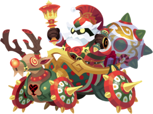 """The Red-Nosed Chariot<span style=""""font-weight: normal"""">&#32;(<span class=""""t_nihongo_kanji"""" style=""""white-space:nowrap"""" lang=""""ja"""" xml:lang=""""ja"""">レッドノーズチャリオット</span><span class=""""t_nihongo_comma"""" style=""""display:none"""">,</span>&#32;<i>Reddo Nōzu Chariotto</i><span class=""""t_nihongo_help noprint""""><sup><span class=""""t_nihongo_icon"""" style=""""color: #00e; font: bold 80% sans-serif; text-decoration: none; padding: 0 .1em;"""">?</span></sup></span>)</span> Heartless from the December 2020 Raid Boss Event."""