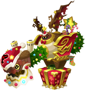 """The Holiday Sleigh<span style=""""font-weight: normal"""">&#32;(<span class=""""t_nihongo_kanji"""" style=""""white-space:nowrap"""" lang=""""ja"""" xml:lang=""""ja"""">ノーティースレッド</span><span class=""""t_nihongo_comma"""" style=""""display:none"""">,</span>&#32;<i>Nōtī Sureddoi</i><span class=""""t_nihongo_help noprint""""><sup><span class=""""t_nihongo_icon"""" style=""""color: #00e; font: bold 80% sans-serif; text-decoration: none; padding: 0 .1em;"""">?</span></sup></span>, lit. """"Naughty Sled"""")</span> Raid Boss from the last December 2018 Weekly Raid events."""