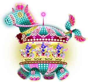"""The Merry-Go-Rowdy<span style=""""font-weight: normal"""">&#32;(<span class=""""t_nihongo_kanji"""" style=""""white-space:nowrap"""" lang=""""ja"""" xml:lang=""""ja"""">ラウディカルーセル</span><span class=""""t_nihongo_comma"""" style=""""display:none"""">,</span>&#32;<i>Raudi Karūseru</i><span class=""""t_nihongo_help noprint""""><sup><span class=""""t_nihongo_icon"""" style=""""color: #00e; font: bold 80% sans-serif; text-decoration: none; padding: 0 .1em;"""">?</span></sup></span>, lit. """"Rowdy Carousel"""")</span> Raid Boss from the 3rd Anniversary event."""