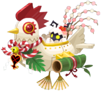 """The Happy Cuckoo<span style=""""font-weight: normal"""">&#32;(<span class=""""t_nihongo_kanji"""" style=""""white-space:nowrap"""" lang=""""ja"""" xml:lang=""""ja"""">ハッピークック</span><span class=""""t_nihongo_comma"""" style=""""display:none"""">,</span>&#32;<i>Happī Kukku</i><span class=""""t_nihongo_help noprint""""><sup><span class=""""t_nihongo_icon"""" style=""""color: #00e; font: bold 80% sans-serif; text-decoration: none; padding: 0 .1em;"""">?</span></sup></span>)</span> Heartless, first seen during the New Year Lucky Bag event in 2017."""