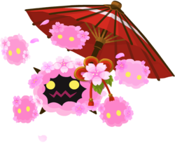 """The Cherry Possessor<span style=""""font-weight: normal"""">&#32;(<span class=""""t_nihongo_kanji"""" style=""""white-space:nowrap"""" lang=""""ja"""" xml:lang=""""ja"""">チェリーポセッサー</span><span class=""""t_nihongo_comma"""" style=""""display:none"""">,</span>&#32;<i>Cherī Posessā</i><span class=""""t_nihongo_help noprint""""><sup><span class=""""t_nihongo_icon"""" style=""""color: #00e; font: bold 80% sans-serif; text-decoration: none; padding: 0 .1em;"""">?</span></sup></span>)</span> Heartless from the Flower event in 2016."""